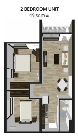 2 bedroom unit lay out